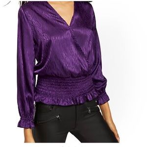 New York and company plum satin blouse